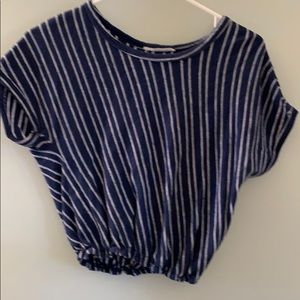 Short sleeve, blue and white, elastic waist shirt